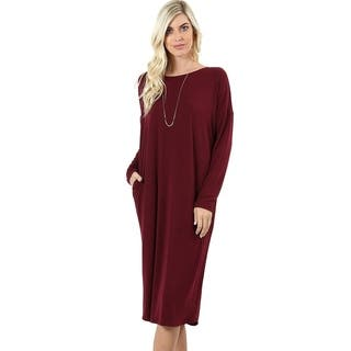 JED Women's Comfy Fit Solid Long Sleeve Knee Length Casual Dress|https://ak1.ostkcdn.com/images/products/18122207/P24276370.jpg?impolicy=medium