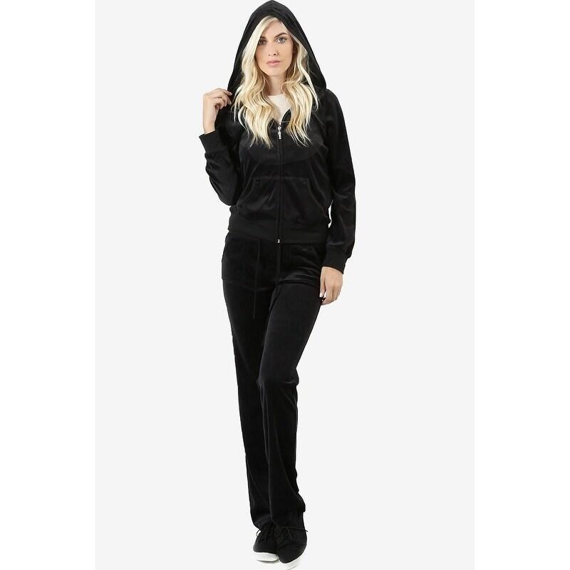 JED Women's Plush Velour Jacket and Pants Sweatsuit Set (...