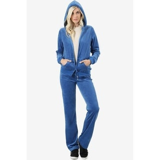 JED Women's Plush Velour Jacket and Pants Sweatsuit Set