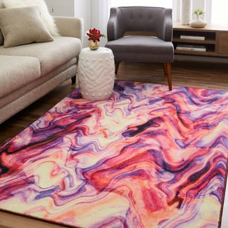 Mohawk Prismatic Collection Wavelength Abstract Area Rug (8' x 10') - 8' x 10'