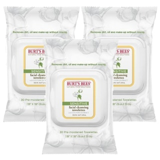 Burt's Bees Sensitive 30-Count Facial Cleansing Towelettes with Cotton Extract (Pack of 3)