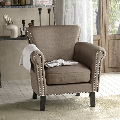 Brice Vintage Scroll Arm Studded Fabric Club Chair by Christopher Knight Home