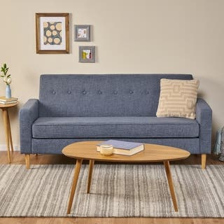 Sawyer Mid Century Modern 3 Seater Fabric Sofa By Christopher Knight Home