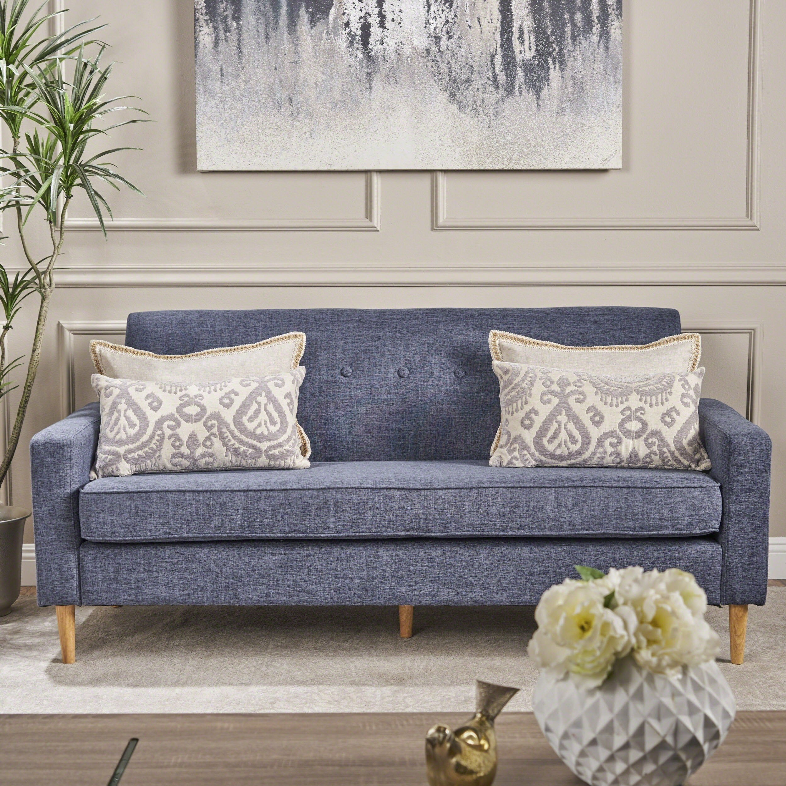 Details about Sawyer Mid-century Modern 3-seater Fabric Sofa by