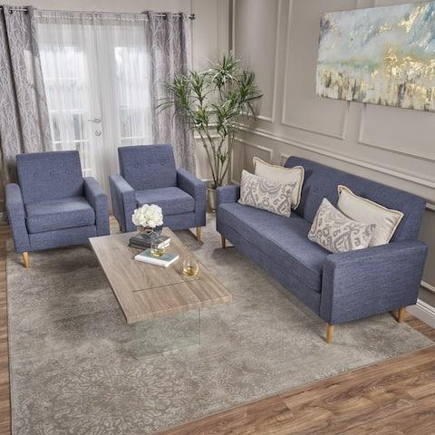 Sawyer Mid Century Modern 3-piece Fabric Sofa Set by Christopher Knight Home