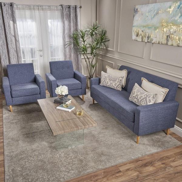 Shop Sawyer Mid Century Modern 3 Piece Fabric Sofa Set By