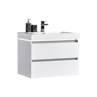 "Maui 30"" LED Illuminated Single Sink Wall Mount Floating Bathroom Vanity with Acrylic Top"