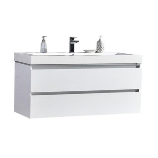 Maui 48-inch LED Illuminated Single Sink Wall Mount Floating Bathroom Vanity with Acrylic Top, White