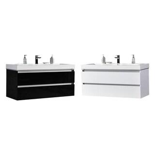 "Maui 48"" LED Illuminated Single Sink Wall Mount Floating Bathroom Vanity with Acrylic Top"