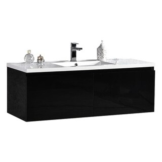 "Sunset 48"" LED Illuminated Single Sink Wall Mount Floating Bathroom Vanity with Acrylic Top"
