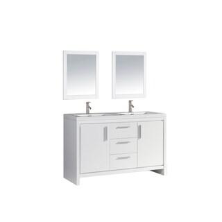 Miami 60-inch Double Sink Bathroom Vanity Set, White