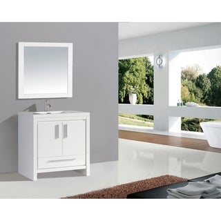 "Miami 36"" Single Sink Bathroom Vanity Set, White"