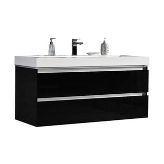 Maui 48-Inch LED Illuminated Single Sink Wall Mount Floating Bathroom Vanity with Acrylic Top in Black