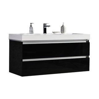 "Maui 48"" LED Illuminated Single Sink Wall Mount Floating Bathroom Vanity with Acrylic Top"