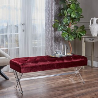 Emeric Rectangle Tufted Velvet Ottoman Bench by Christopher Knight Home