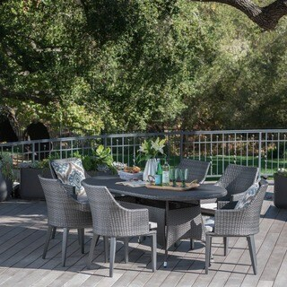 Hillhurst Outdoor 7-piece Oval Wicker Dining Set with Cushions by Christopher Knight Home