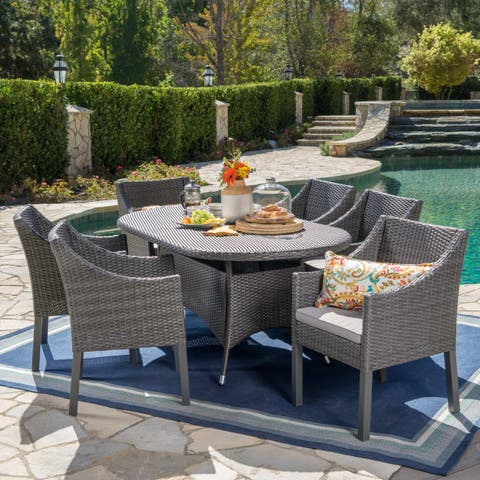 Franco Outdoor 7-piece Oval Wicker Dining Set with Cushions by Christopher Knight Home