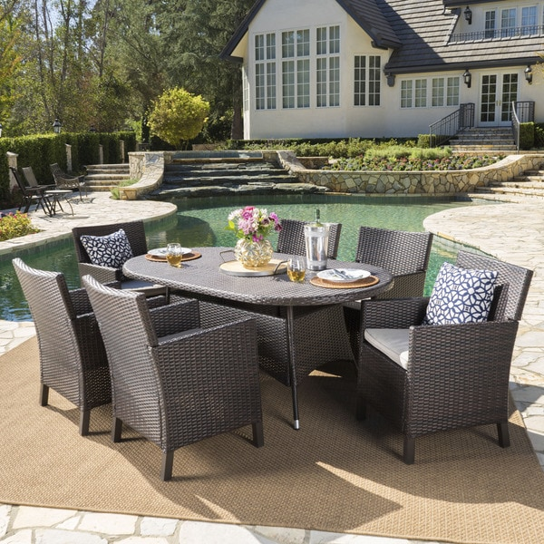 Cypress Outdoor 7-piece Oval Wicker Dining Set With