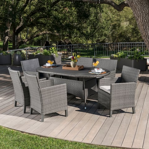 Cypress Outdoor 7-piece Oval Wicker Dining Set with Cushions by Christopher Knight Home