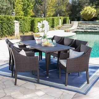 Alameda Outdoor 9-piece Rectangular Wicker Dining Set with Cushions by Christopher Knight Home