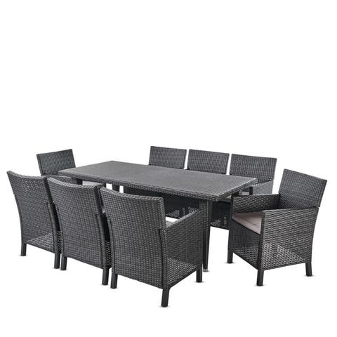 Celeste Outdoor 9-piece Rectangular Wicker Dining Set with Cushions by Christopher Knight Home