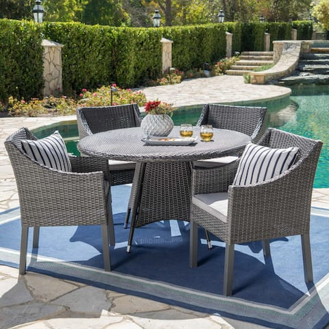 Franco Outdoor 5-piece Round Wicker Dining Set with Cushions & Umbrella Hole by Christopher Knight Home
