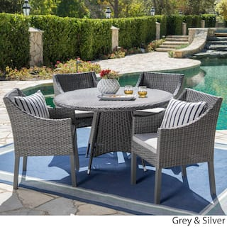 Franco Outdoor 5 Piece Round Wicker Dining Set With Cushions Umbrella Hole By Christopher