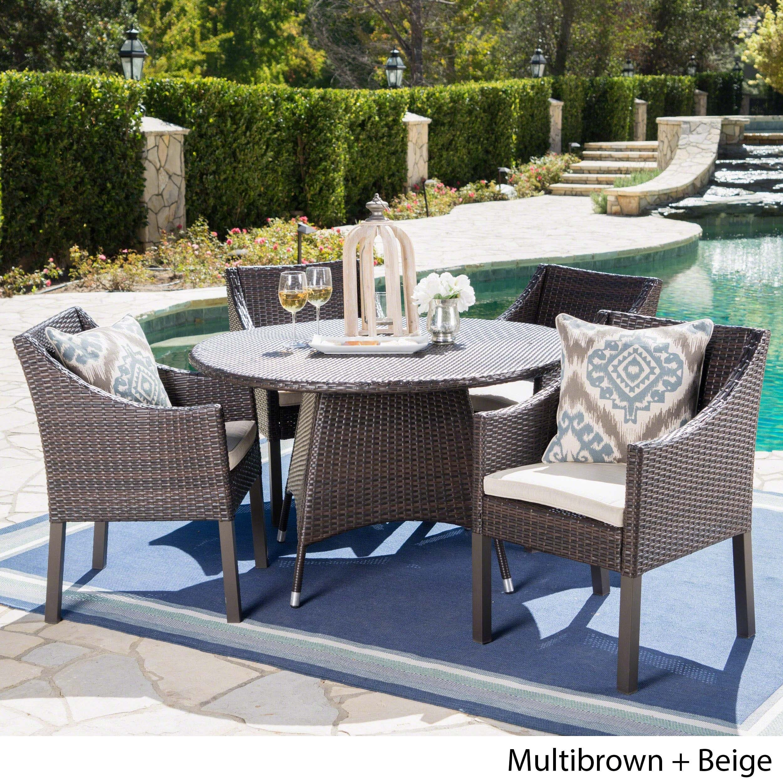 Franco Outdoor 5 Piece Round Wicker Dining Set With Cushions U0026 Umbrella  Hole By Christopher