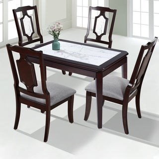 sleeplanner espresso solid wood deluxe dining table with natural marble top