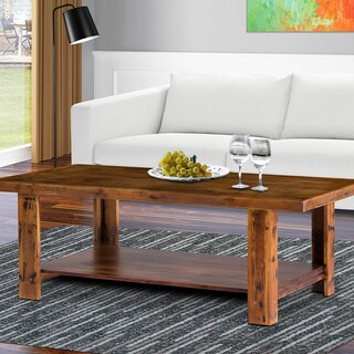 Sleeplanner Natural Marble Brown Solid Wood Coffee Table/ Cocktail Table