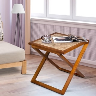 Sleeplanner Natural Marble Top Light Brown Soild Wood Base X-End Table