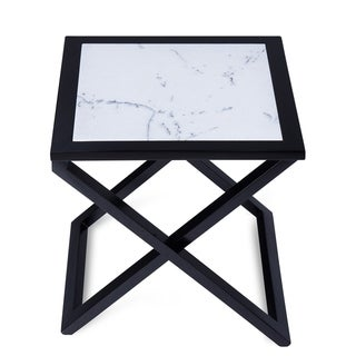 Gracewood Hollow Kikic Natural Marble and Black Solid Wood X-end Accent Table