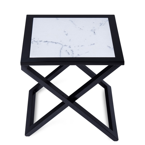 Sleeplanner Black Wood X-base End Table With Natural Marble Top