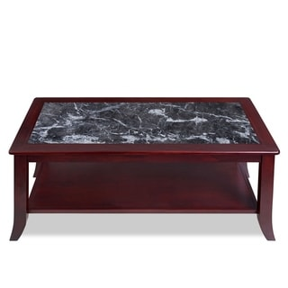 Sleeplanner Black Natural Marble Top Cherry Solid Wood Coffee Table