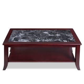 Sleeplanner Black Natural Marble Top Cherry Solid Wood Coffee Table