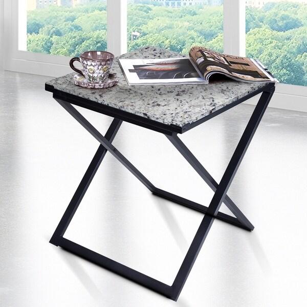 Sleeplanner White Granite Dura Metal Frame End Table - Free Shipping ...
