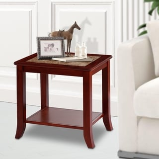 Sleeplanner Light Brown Natural Marble Top Brown Solid Wood End Table