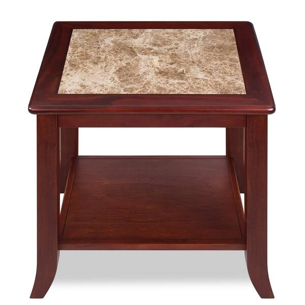 Natural Marble Top Brown Solid Wood