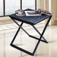 Sleeplanner Blue & Black Granite Dura Metal Frame End Table