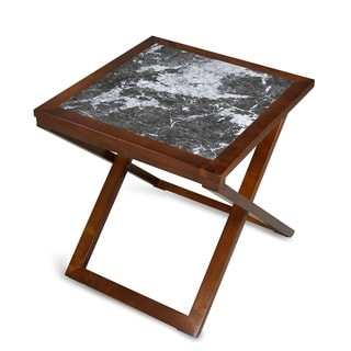 Sleeplanner Natural Marble Top Gold Brown Soild Wood Base X-End Table