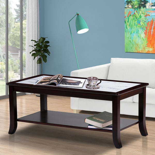Sleeplanner White Natural Marble Top Espresso Solid Wood Coffee Table