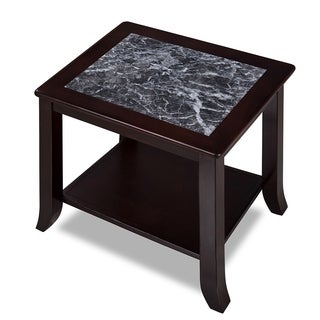 Sleeplanner Black & White Natural Marble Top Solid Wood End Table