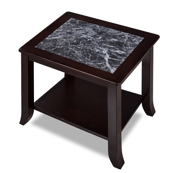 Sleeplanner Black & White Natural Marble Solid Wood End Table