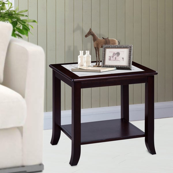 Solid Wood Coffee And End Tables For Sale: Shop Sleeplanner White Natural Marble Top Espresso Solid