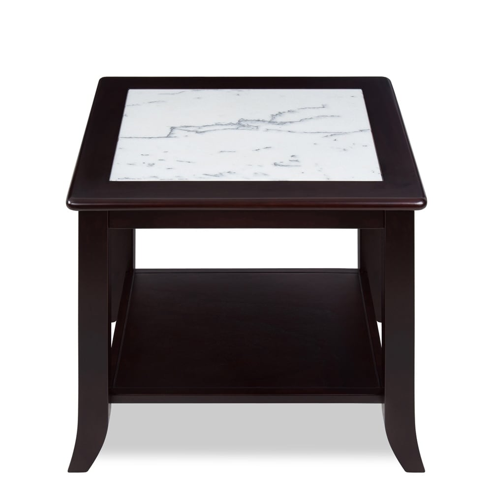 Sleeplanner White Natural Marble Top Espresso Solid Wood End Table