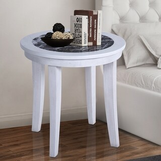 Sleeplanner Black Natural Marble Top Round Solid Wood Side Table