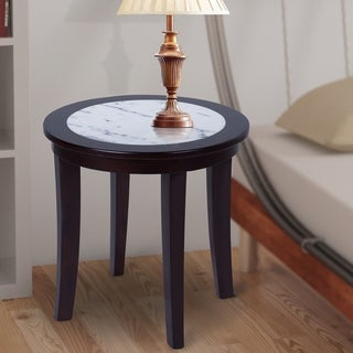 Sleeplanner White Natural Marble Top Round Side Table