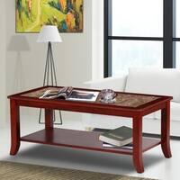 Sleeplanner Light Brown Natural Marble Top Brown Solid Wood Coffee Table