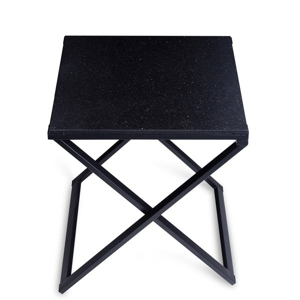 Sleeplanner Black Granite Dura Metal Frame End Table