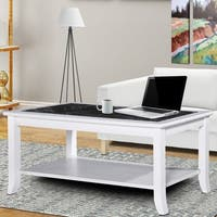 Sleeplanner Black & White Natural Marble Top White Solid Wood Coffee Table
